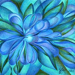 Blaue Blüte - Kunstdruck